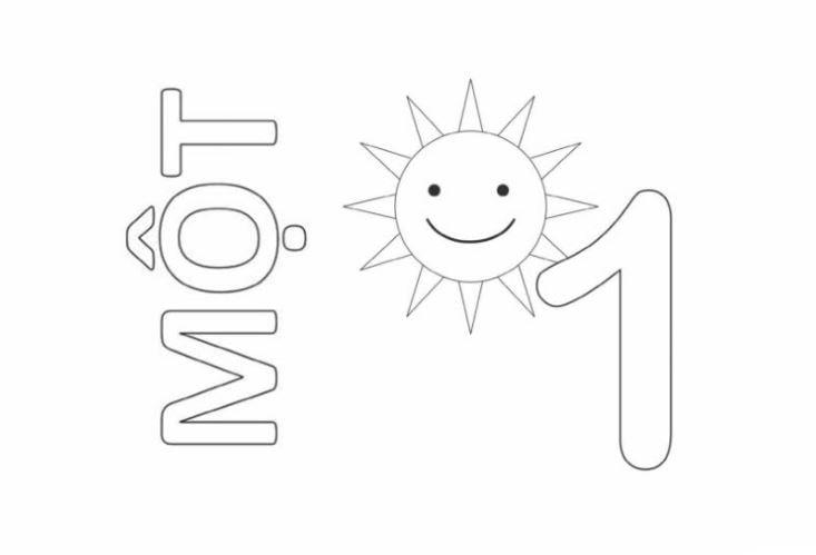 Mẫu tranh tô màu cho bé hình chữ số 1 trong tiếng việt