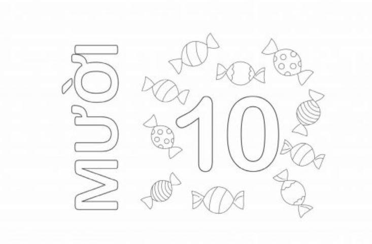 Mẫu tranh tô màu hình chữ số 10 dành cho bé
