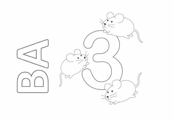 Mẫu tranh tô màu hình chữ số 3 dành cho bé tập tô