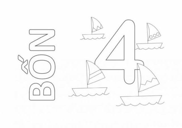 Mẫu tranh tô màu cho bé hình chữ số 4