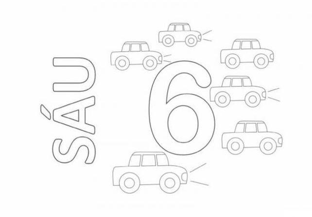 Mẫu tranh tô màu hình chữ số 6 dành cho bé tập tô