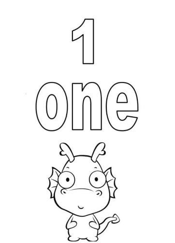 Mẫu tranh tô màu hình chữ số 1 trong tiếng anh dành cho bé