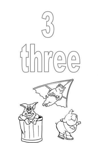 Mẫu tranh tô màu hình chữ số 3 trong tiếng anh dành cho bé