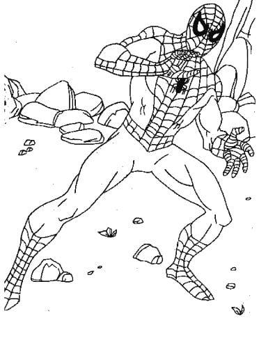 Mẫu tranh tô màu hình siêu nhân người nhện dành cho bé