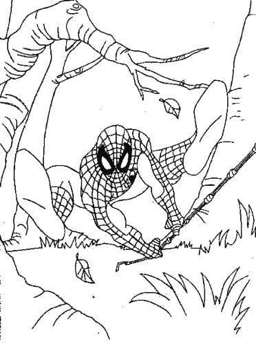 bé hình siêu nhân người nhện đang đi giải cứu thành phố