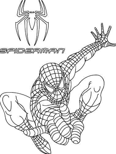 Mẫu tranh tô màu người nhện dành cho bé