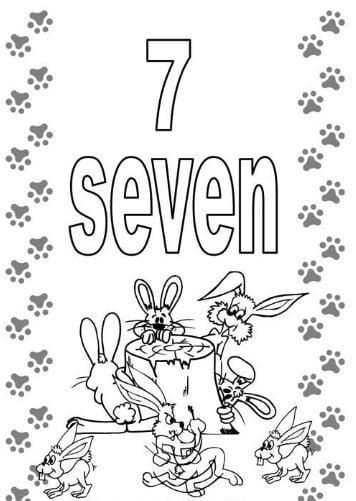 Mẫu tranh tô màu hình chữ số 7 trong tiếng anh dành cho bé
