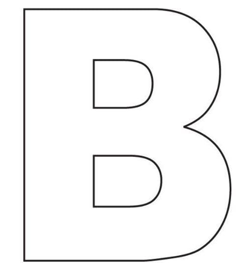 Mẫu tranh tô màu cho bé 2 tuổi đơn giản hình chữ B
