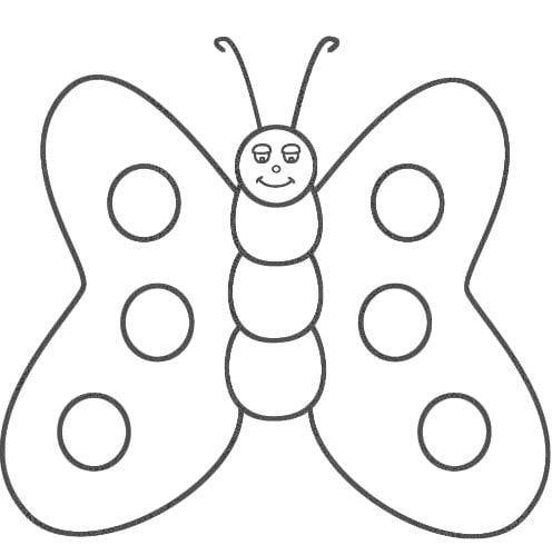 Mẫu tranh tô màu dành cho bé 2 tuổi hinh con bướm