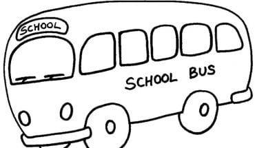 Mẫu tranh tô màu hình xe bus đang chạy đến trường dành cho bé