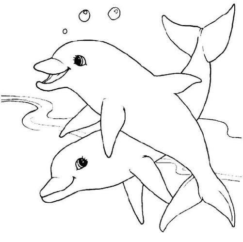 Mẫu tranh tô màu hình 2 chú cá dành cho bé từ 2 đến 5 tuổi