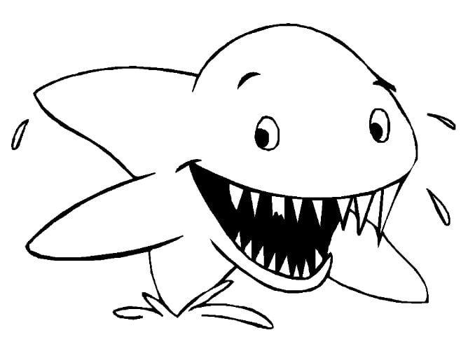 Mẫu tranh tô màu cho bé hình con cá mập hung tợn dành cho bé từ 2 đến 5 tuổi
