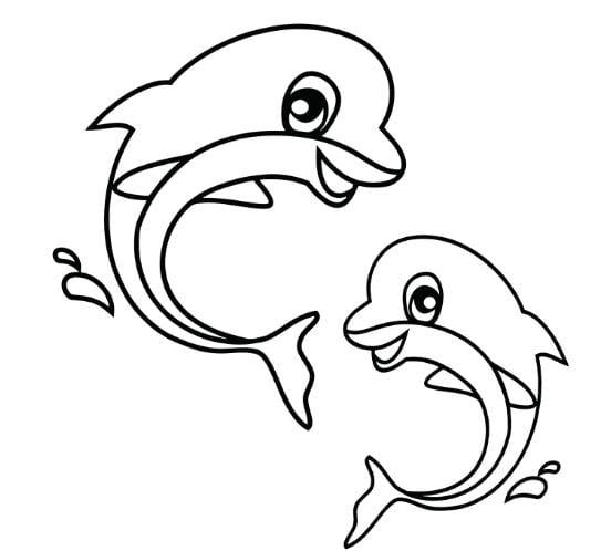 Mẫu tranh tô màu dành cho bé về tình bạn của 2 chú cá
