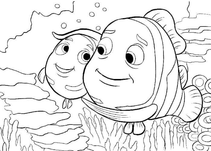 Mẫu tranh tô màu dành cho bé từ 2 đến 5 tuổi hình mẹ con nhà cá