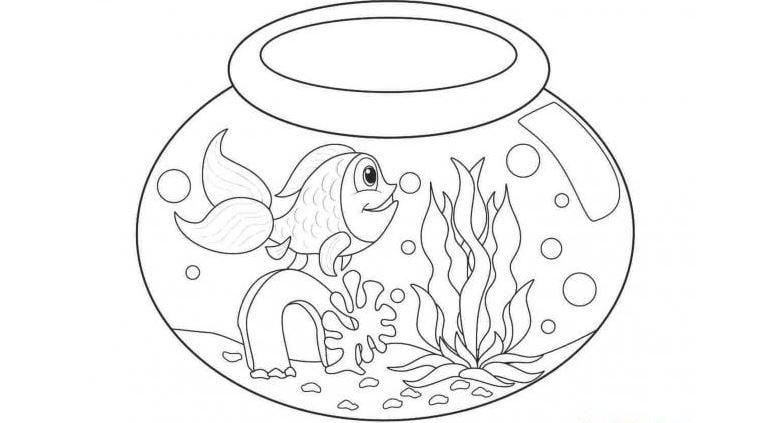 Mẫu tranh tô màu con các vàng và rong biển danh cho bé từ 2 đến 5 tuổi