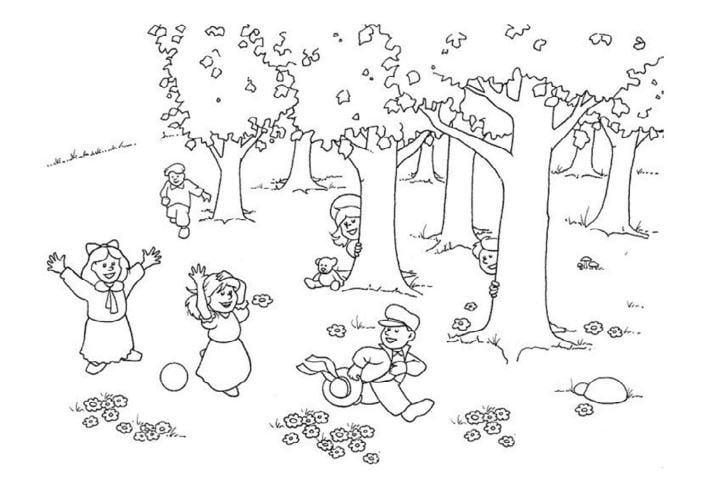 Mẫu tranh tô màu cho bé hình cây xanh và những đứa trẻ nô đùa