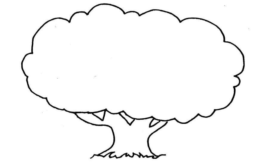 Mẫu tranh tô màu cho bé mẫu giáo cây cổ thụ đơn giản