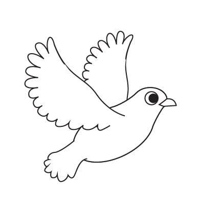Mẫu tranh tô màu chú chim đang bay dành cho bé