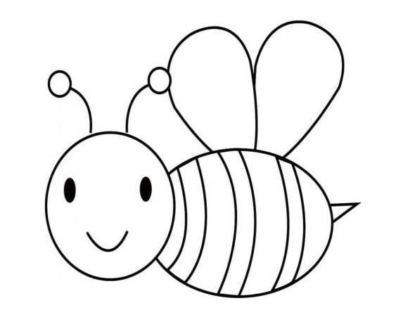 Mẫu tranh tô màu hình con ong đơn giản dành cho bé 2 tuổi