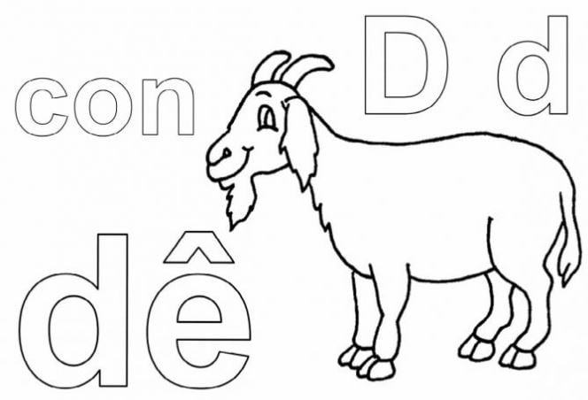 Mẫu tranh tô màu cho bé hình chữ D