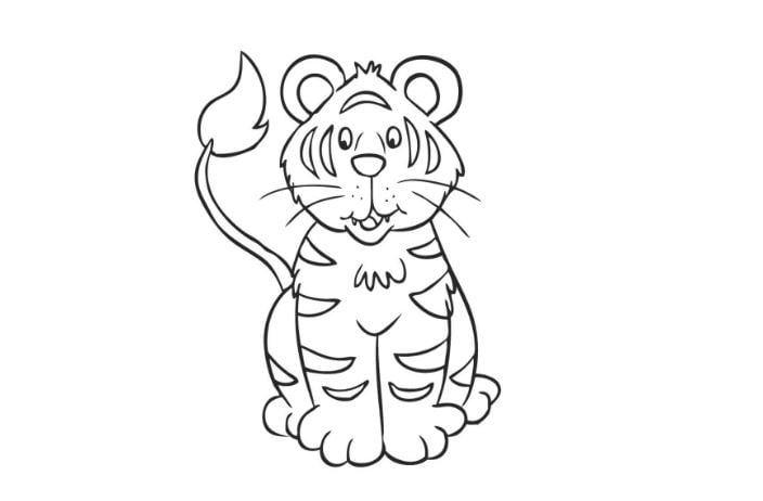 Mẫu tranh tô màu hình chú hổ đáng yêu ngộ nghĩnh cho bé tập tô