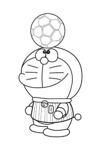 Mẫu tranh tô màu hình Doreamon đang chơi bóng dành cho bé