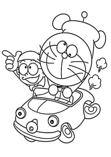 Mẫu tranh tô màu hình Doreamon và Nobita đang chạy xe