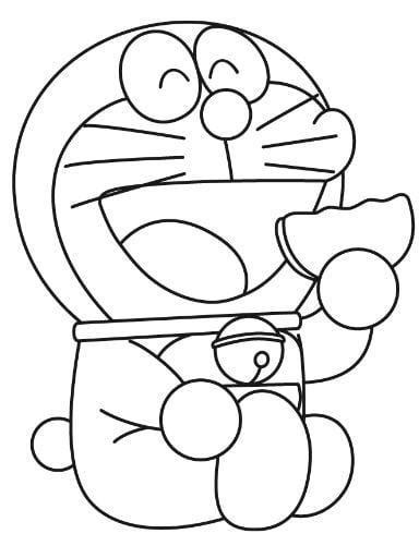 Mẫu tranh tô màu mèo máy đang ăn món bánh rán dành cho bé