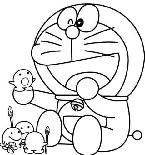 Mẫu tranh tô màu hình Doreamon đáng yêu dành cho bé