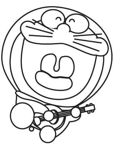 Mẫu tranh tô màu hình chú mèo máy tập đánh đàn dành cho bé