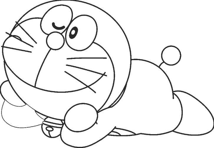 Mẫu tranh tô màu mèo máy Doreamon dành cho bé