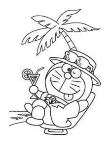 Mẫu tranh tô màu hình Doreamon đang nghĩ mát bên cây dừa