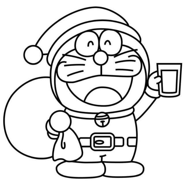 Mẫu tranh chú mèo máy Doreamon trong vai ông già Noel dành cho bé