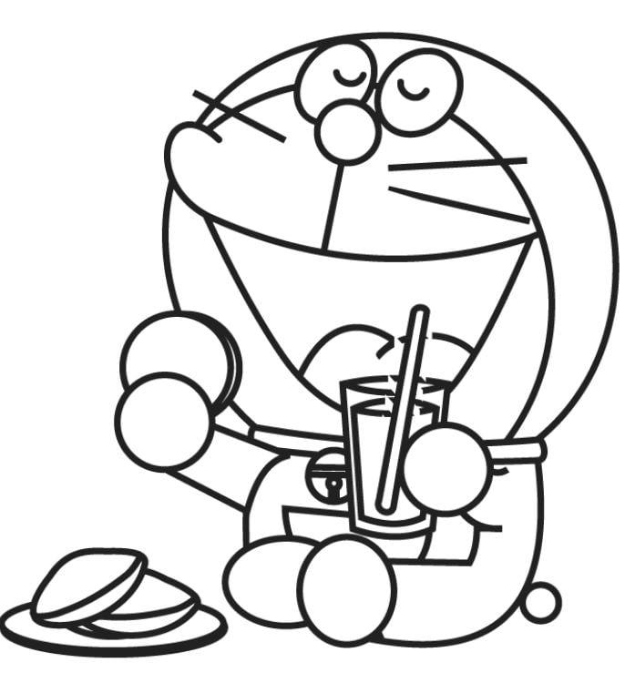 Mẫu tranh tô màu cho bé hình Doreamon đang thưởng thức món bánh yêu thích