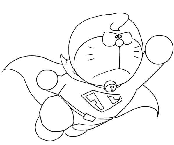 Mẫu tranh tô màu cho bé hình siêu nhân mèo máy siêu nhân Doreamon