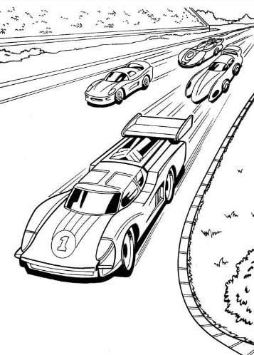 Mẫu tranh tô màu cho bé hình những chiếc xe đua