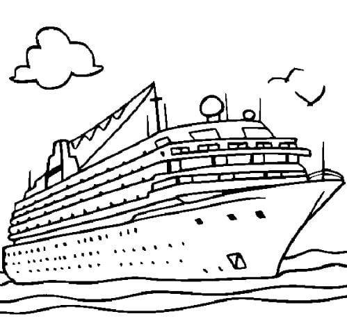 Mẫu tranh tô màu hình chiếc du thuyền to lớn dành cho bé