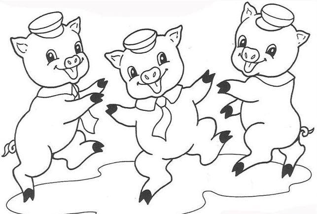 Mẫu tranh tô màu hình chú 3 chú heo con đang nhẩy nhót