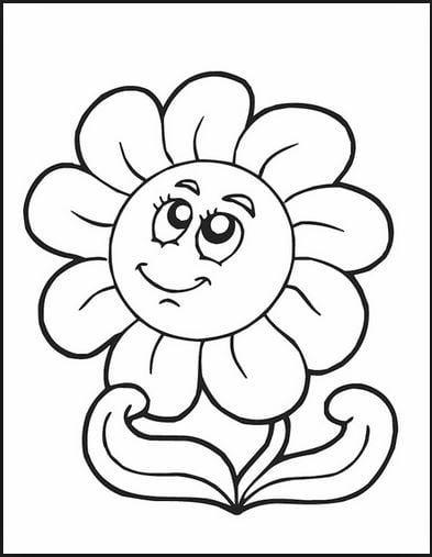 Mẫu tranh tô màu hình bông hoa đơn giản dành cho bé 2 tuổi