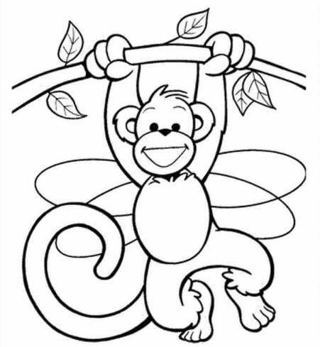 Mẫu tranh tô màu hình con khỉ dành cho bé