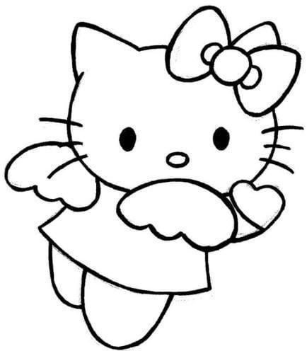 Mẫu tranh tô màu hình chú méo Kitty đáng yêu dành cho bé