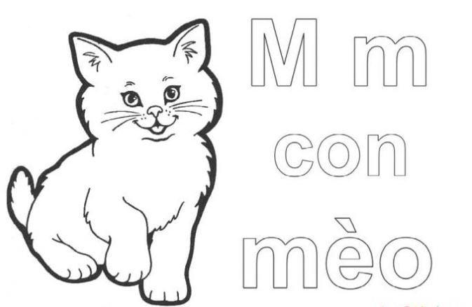 Mẫu tranh tô màu hình chữ M dành cho bé tập tô