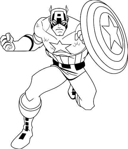 Mẫu tranh tô màu siêu anh hùng Captain America dành cho bé