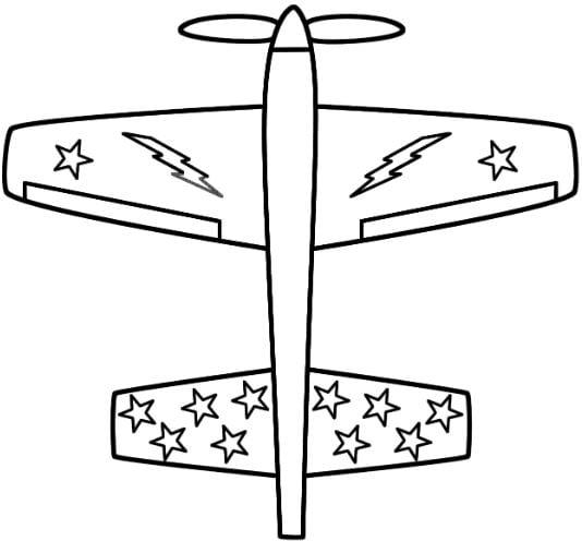 Mẫu tranh tô màu cho bé hình chiếc máy bay với nhiều ngôi sao