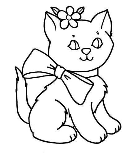 Mẫu tranh tô màu hình cô Mèo đáng yêu dành cho bé