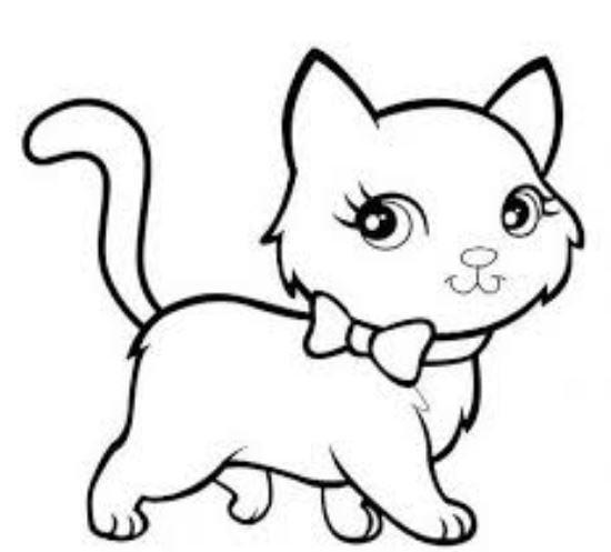 Tranh tô màu cho bé hình cô mèo