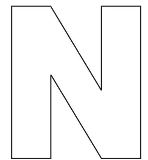 Mẫu tranh tô màu cho bé 2 tuổi đơn giản hình chữ N