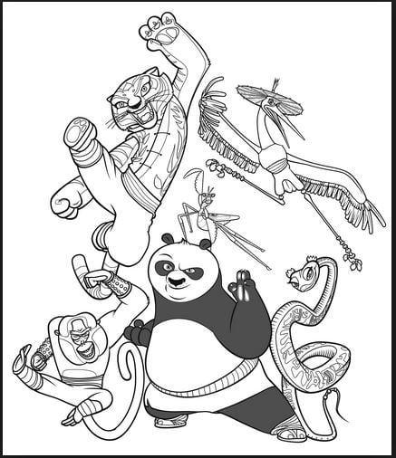 Mẫu tranh tô màu hình hoạt hình Kungfu Panda
