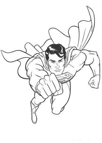 Mẫu tranh tô màu hình siêu nhân đang bay dành cho bé