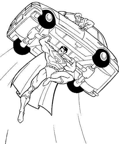 Mẫu tranh tô màu cho bé hình siêu nhân đang nâng chiếc ô tô